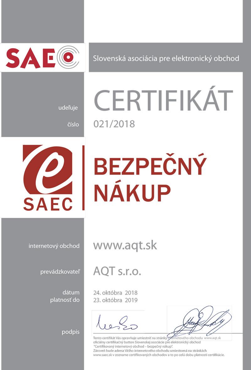 Zoznam certifikovaných internetových obchodov nájdete tu.  Certifikat-Bezpecny-nakup-AQT-2018 4c2ce77e3da